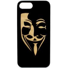 "Husa vintage din lemn acacia pentru iPhone 7/8, pirogravura - Acacia wood vintage case for iPhone 7/8, phirography ""mim mask"""