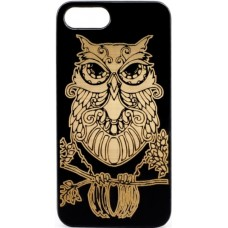 "Husa vintage din lemn acacia pentru iPhone 7/8, pirogravura - Acacia wood vintage case for iPhone 7/8, phirography ""owl"" - wisdom Feng Shui symbol"