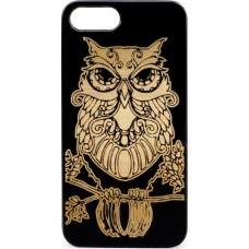 "Husa vintage din lemn acacia pentru iPhone 7/8 Plus, pirogravura - Acacia wood vintage case for iPhone 7/8 Plus, phyrography ""Owl - wisdom Feng Shui symbol"""
