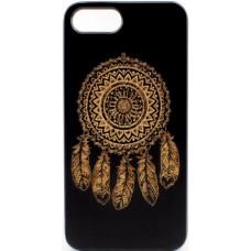 "Husa vintage din lemn acacia pentru iPhone 7/8 Plus, pirogravura - Acacia wood vintage case for iPhone 7/8 Plus, phyrography  ""Talisman Dreamcatcher"""