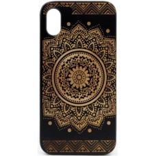 "Husa vintage din lemn acacia pentru iPhone X, pirogravura - Acacia wood vintage case for iPhone X, phyrography ""Oriental Mandala"""
