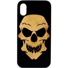 "Husa vintage din lemn acacia pentru iPhone X, pirogravura - Acacia wood vintage case for iPhone X, phyrography ""Tribal Skull"""