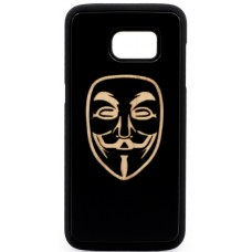 "Husa vintage din lemn acacia pentru Samsung Galaxy S7 Edge, pirogravura - Acacia wood vintage case for Samsung Galaxy S7 Edge, phyrography ""Anonim Mask"""