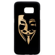 "Husa vintage din lemn acacia pentru Samsung Galaxy S7, pirogravura - Acacia wood vintage case for Samsung Galaxy S7, phyrography ""Mim Mask"""