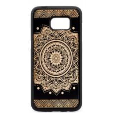 "Husa suvenir din lemn acacia pentru Samsung Galaxy S7, pirogravura - Acacia wood vintage case for Samsung Galaxy S7, phyrography ""Oriental Mandala"""