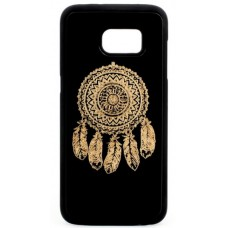 "Husa vintage din lemn acacia pentru Samsung Galaxy S7, pirogravura - Acacia wood vintage case for Samsung Galaxy S7, phyrography ""Talisman Dreamcatcher"""