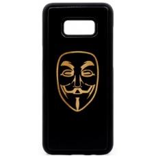 "Husa vintage din lemn acacia pentru Samsung Galaxy S8, pirogravura - Acacia wood vintage case for Samsung Galaxy S8, phyrography ""Anonim Mask"""