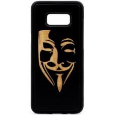 "Husa vintage din lemn acacia pentru Samsung Galaxy S8, pirogravura - Acacia wood vintage case for Samsung Galaxy S8, phyrography ""Mim Mask"""