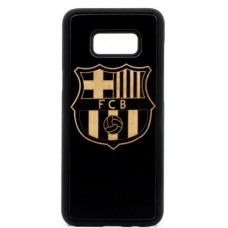 "Husa vintage din lemn acacia pentru Samsung Galaxy S8 Plus, pirogravura - Acacia wood vintage case for Samsung Galaxy S8 Plus, phyrography ""Logo FC Barcelona"""