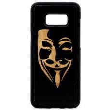 "Husa vintage din lemn acacia pentru Samsung Galaxy S8 Plus, pirogravura - Acacia wood vintage case for Samsung Galaxy S8 Plus, phyrography ""Mim Mask"""