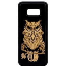 "Husa vintage din lemn acacia pentru Samsung Galaxy S8 Plus, pirogravura - Acacia wood vintage case for Samsung Galaxy S8 Plus, phyrography ""Owl- Wisdom Feng Shui Symbol"""